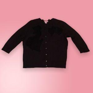 Halogen black 3/4 sleeve cardigan